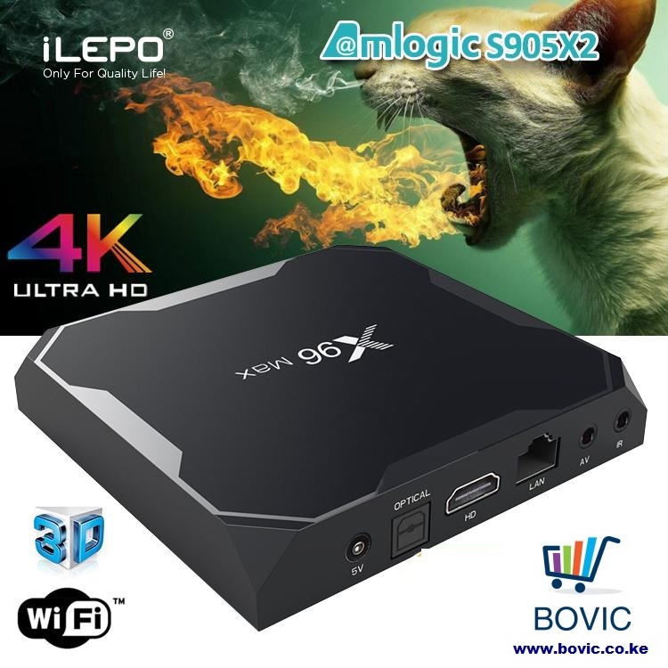 X96 Max Android 8 1 TV Box 4GB Ram 32GB Rom Amlogic S905X2 Quad Core CPU  Dual WiFi - Black