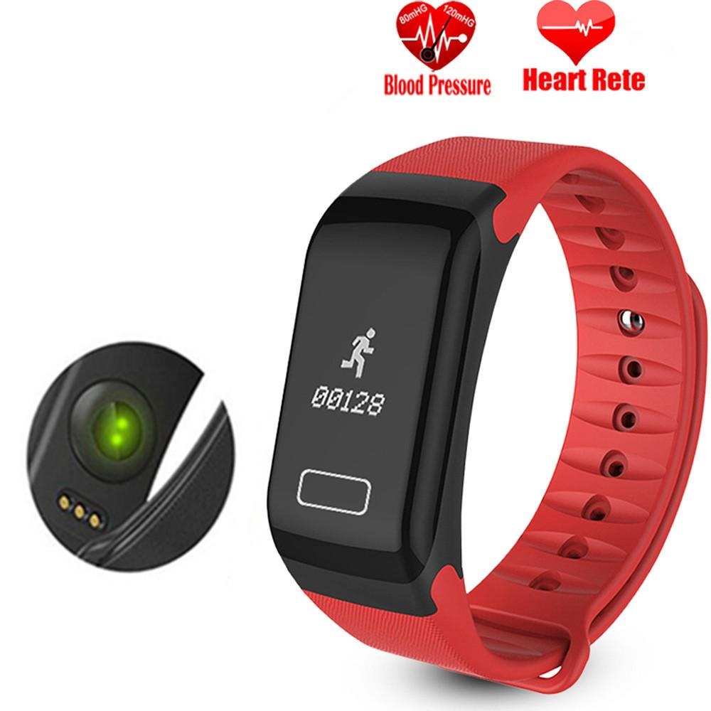 Smart Band Blood Pressure Watch F1 Smart Bracelet with Heart Rate Monitor -  Red